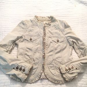 Anthropologie idra corduroy ruffle jacket